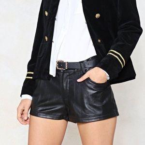 1️⃣✅ black vegan leather shorts